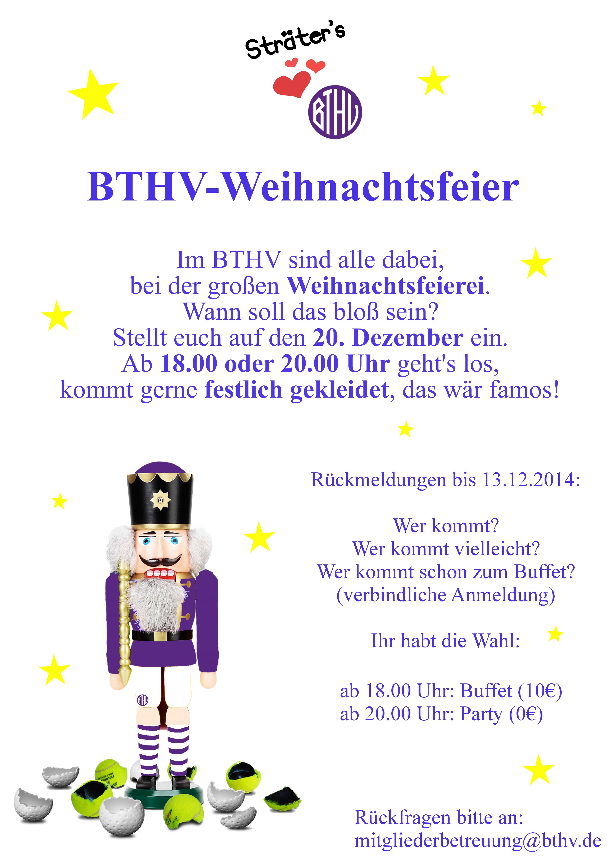 Infos Weihnachtsfeier am 20.12. | BTHV