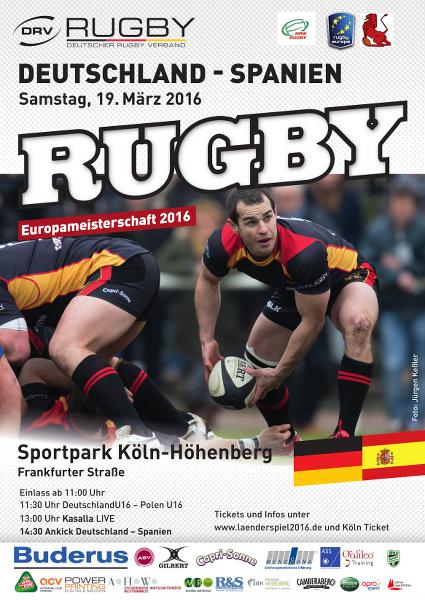 Deutschland : Spanien bei der Rugby-Europameisterschaft 2016 (Plakat, Foto: Jürgen Keßler)