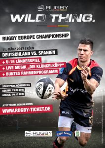 Plakat vom Länderspiel Deutschland - Spanien der Rugby-EM